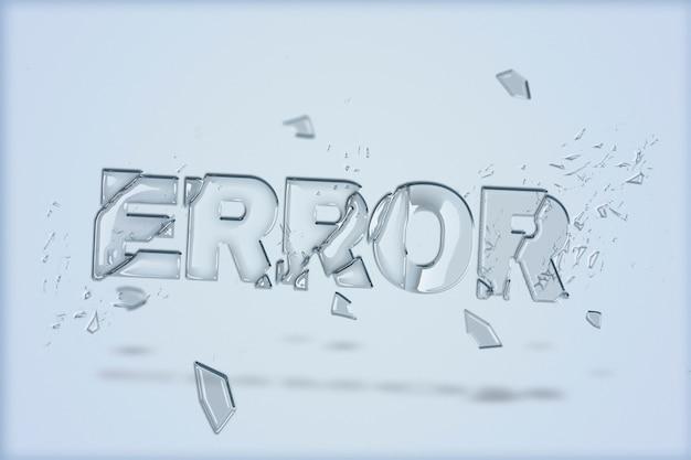 Texto de erro em fonte de vidro quebrado