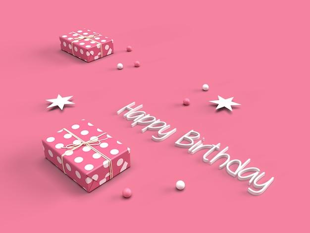 Texto de feliz aniversário 3d com caixa de presente rosa