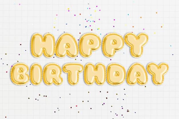 Texto de feliz aniversário em fonte de balão