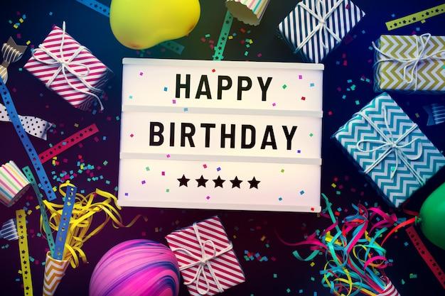 Texto de feliz aniversário na caixa de luz do cinema