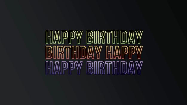 Texto de feliz aniversário no fundo do clube com texto de néon. estilo de ilustração 3d elegante e luxuoso para férias e modelo corporativo