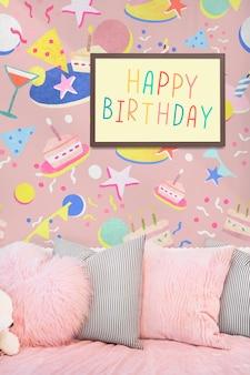 Texto de feliz aniversário no quadro