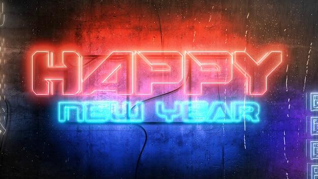 Texto de feliz ano novo e fundo cyberpunk com luzes de néon na cidade. ilustração 3d moderna e futurista para o tema cyberpunk e cinematográfico