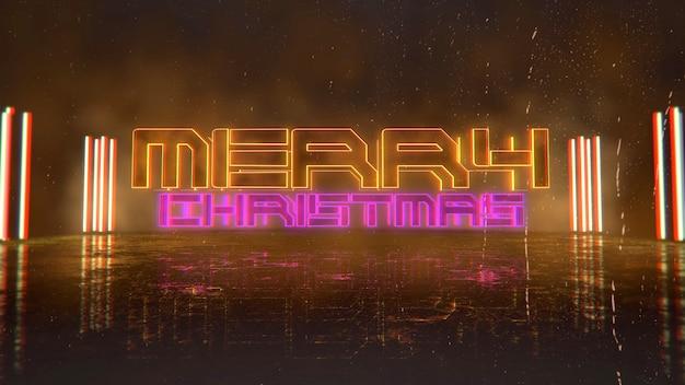 Texto de feliz natal e fundo cyberpunk com luzes de néon na cidade. ilustração 3d moderna e futurista para o tema cyberpunk e cinematográfico
