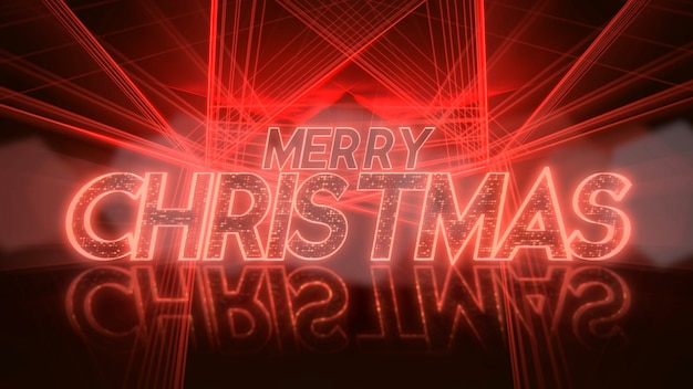 Texto de feliz natal e linhas de laser de néon vermelho, abstrato. ilustração 3d elegante e luxuosa do estilo clube dinâmico