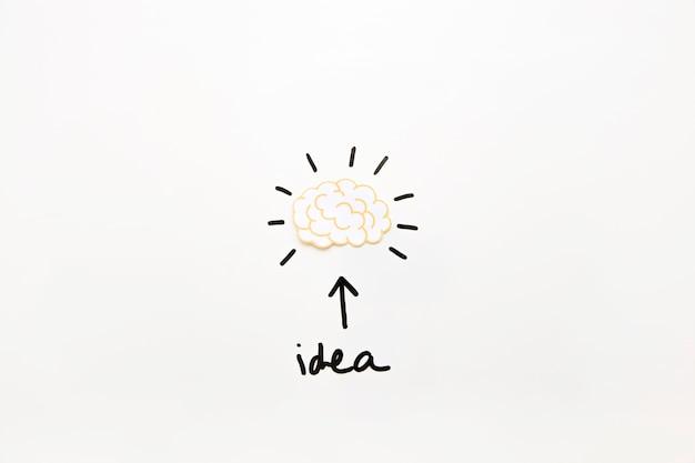Texto de ideia com o símbolo de seta mostrando o cérebro ativo