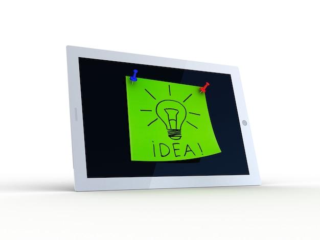 Texto de ideia na tela do tablet, ilustração 3d