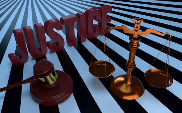Texto de justiça, libra e martelo dos juízes. ilustração 3d