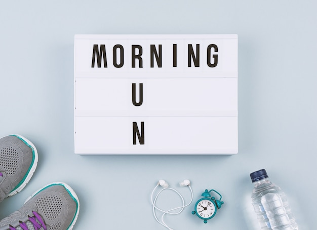 Texto de motivação na caixa de luz corrida matinal