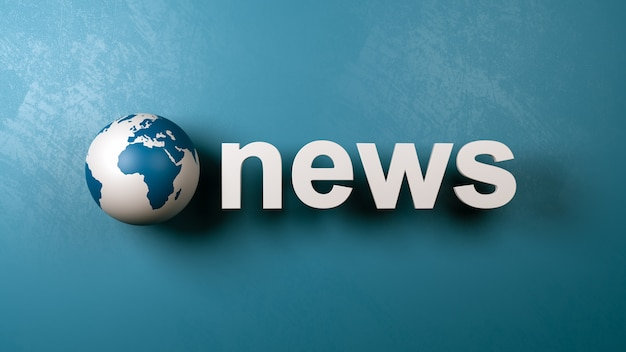 Texto de notícias e globo terrestre contra a parede