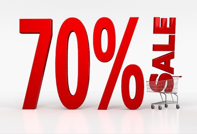Texto de setenta por cento de desconto no carrinho de compras em branco. renderização 3d