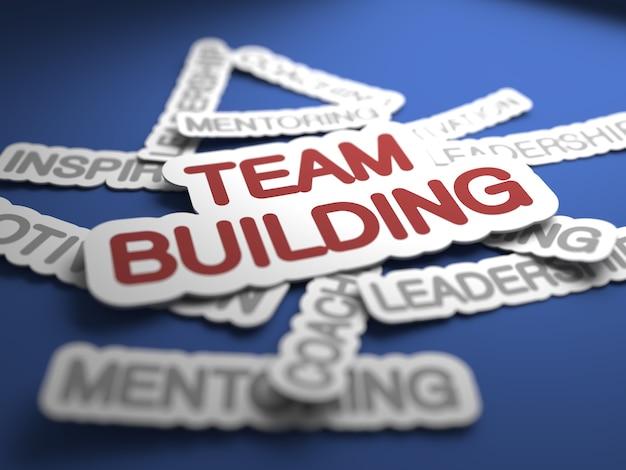 Texto de team building com foco seletivo. renderização 3d.