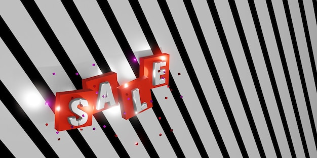 Texto de venda de renderização 3d em fundo listrado preto e branco