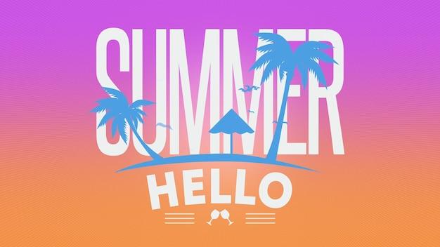 Texto de verão olá com pássaros e palmeiras, fundo roxo de verão