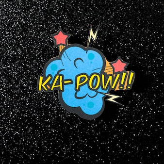 Texto de vetor de expressão em quadrinhos ka pow no fundo escuro brilhante