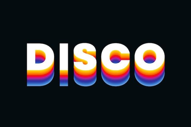 Texto disco em fonte retro colorida