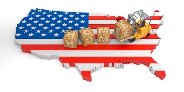 Texto do bloco de madeira em casa do mapa da bandeira dos eua. renderização 3d