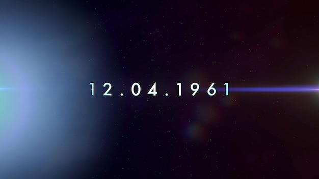 Texto do close up 12.04.1961 com luzes de néon do movimento na galáxia, fundo futurista abstrato. estilo de ilustração 3d elegante e luxuoso para o tema cosmos e ficção científica