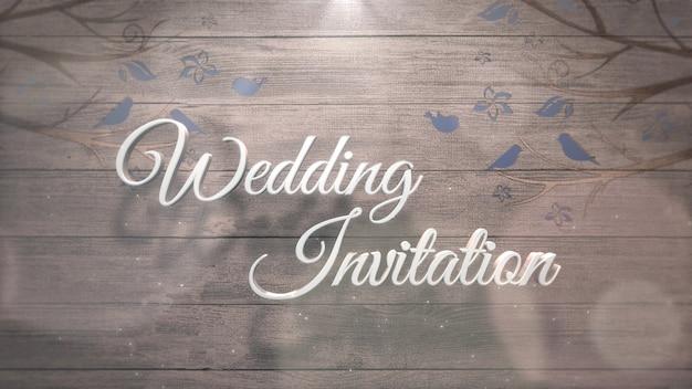 Texto do close up convite de casamento e pássaros azuis na árvore, plano de fundo do casamento. estilo de ilustração 3d elegante e luxuoso em tons pastel
