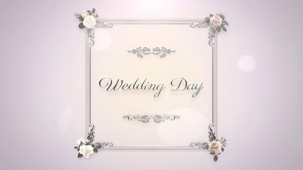 Texto do close up dia do casamento e flores rosas, plano de fundo do casamento