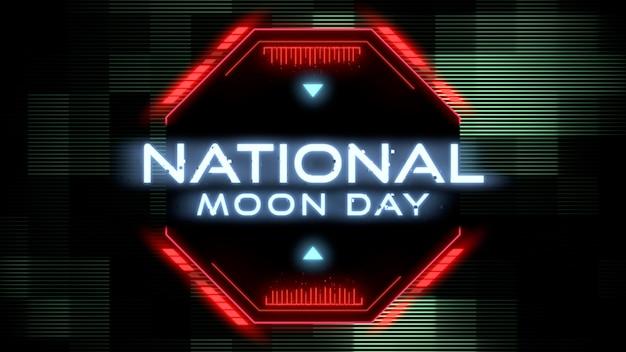 Texto do close-up do dia nacional da lua na tela futurista de néon com linhas de néon, fundo abstrato