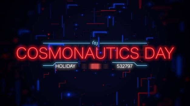 Texto do dia da cosmonáutica em close na tela futurista de néon com formas abstratas, fundo abstrato