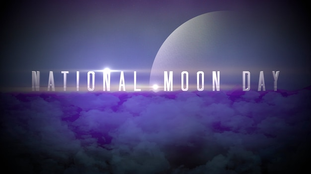 Texto do dia da lua nacional do close up com o planeta e as luzes de néon da estrela na galáxia, abstrato futurista. estilo de ilustrações 3d elegante e luxuoso para tema cosmos e ficção científica