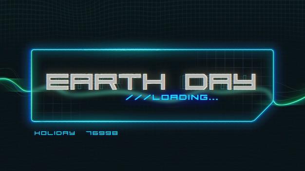 Texto do dia da terra closeup na tela futurista de néon com linhas abstratas, fundo abstrato. estilo de ilustração 3d elegante e luxuoso para o tema cosmos e ficção científica
