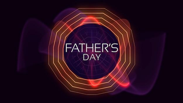 Texto do dia dos pais no fundo do clube e discoteca com ondas geométricas de néon. estilo de ilustração 3d elegante e luxuoso para clube e modelo corporativo