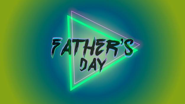 Texto do dia dos pais no fundo do clube e discoteca com triângulo geométrico de néon. estilo de ilustração 3d elegante e luxuoso para clube e modelo corporativo