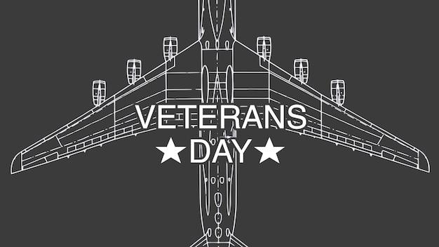 Texto do dia dos veteranos sobre antecedentes militares com avião. ilustração 3d elegante e luxuosa para modelo militar e de guerra