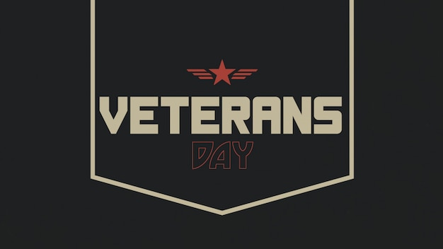 Texto do dia dos veteranos sobre antecedentes militares com carimbo. ilustração 3d elegante e luxuosa para modelo militar e de guerra