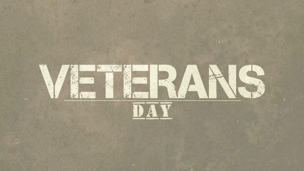 Texto do dia dos veteranos sobre fundo verde militar