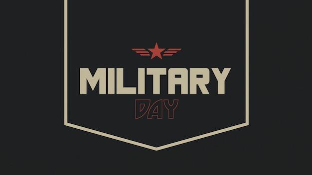 Texto do dia militar sobre fundo militar com estrela vermelha e carimbo de ouro. ilustração 3d elegante e luxuosa para modelo militar e de guerra