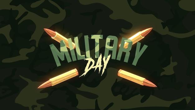 Texto do dia militar sobre fundo verde militar com clientes. ilustração 3d elegante e luxuosa para modelo militar e de guerra