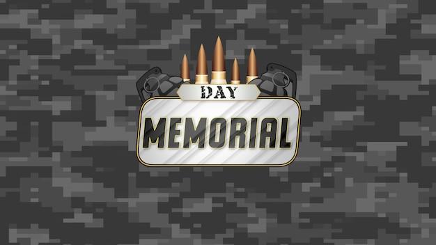 Texto do memorial day sobre antecedentes militares com patronos e granada militar. ilustração 3d elegante e luxuosa para modelo militar e de guerra