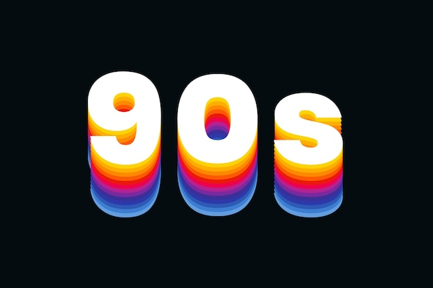 Texto dos anos 90 em fonte retro colorida