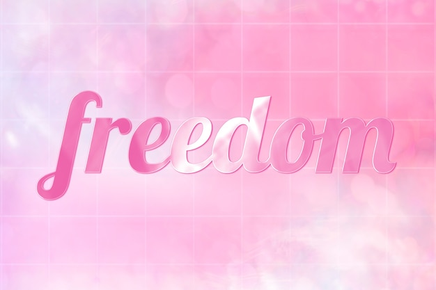 Texto estético da liberdade em uma fonte fofa rosa brilhante