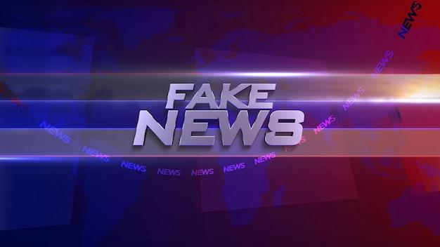 Texto fake news e gráfico de notícias com linhas e mapa-múndi em estúdio, abstrato. estilo de ilustração 3d elegante e luxuoso para modelo de notícias