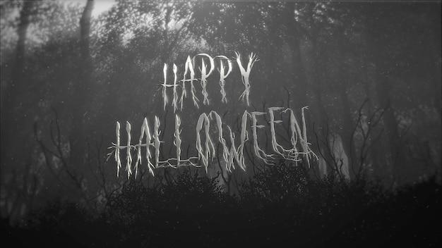 Texto feliz dia das bruxas e fundo místico com floresta escura e nevoeiro, pano de fundo abstrato. ilustração 3d luxuosa e elegante do tema terror