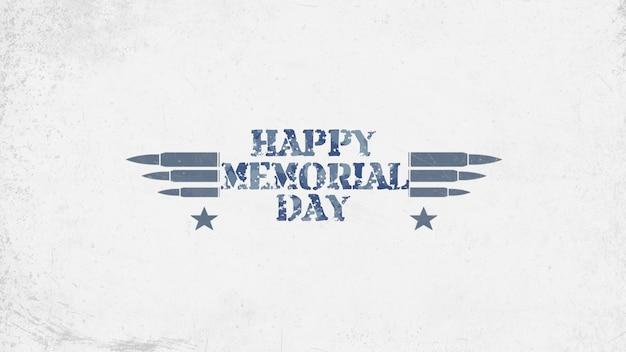 Texto feliz dia do memorial em antecedentes militares com cartuchos. ilustração 3d elegante e luxuosa para modelo militar e de guerra