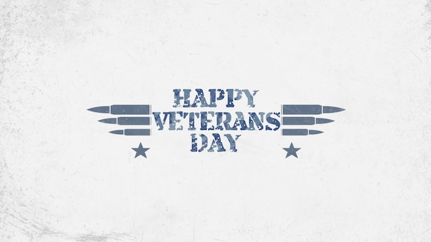 Texto feliz dia dos veteranos em antecedentes militares com cartuchos. ilustração 3d elegante e luxuosa para modelo militar e de guerra