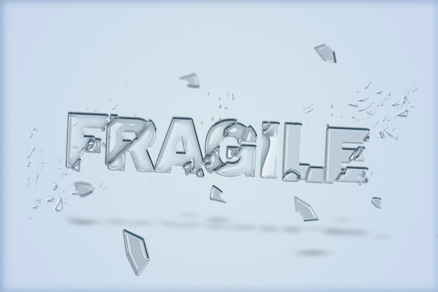 Texto frágil em fonte de vidro quebrado