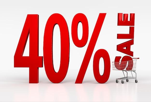 Texto grande em vermelho com 40% de desconto no carrinho de compras sobre branco brilhante. renderização 3d
