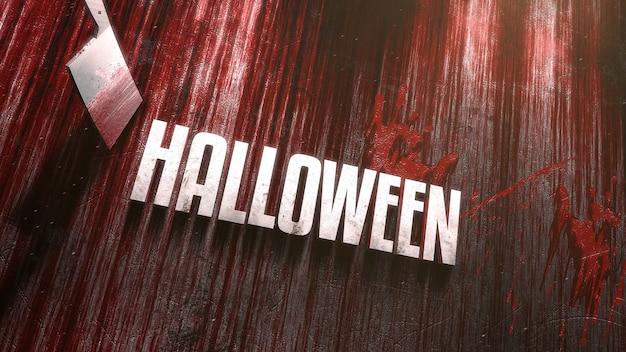 Texto halloween em fundo de horror místico com sangue escuro e faca na madeira, pano de fundo abstrato. ilustração 3d luxuosa e elegante do tema terror