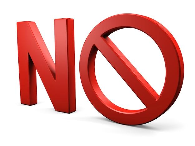 Texto não sinal proibido