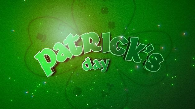 Texto patrick day e grandes trevos verdes e com brilhos no fundo do dia de saint patrick. estilo de ilustração 3d luxuoso e elegante para o tema do feriado