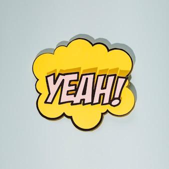 Texto pop art com design de discurso de bolha no pano de fundo cinzento