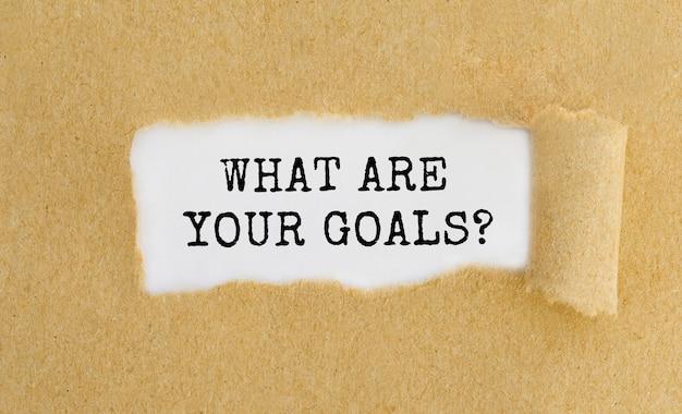 Texto quais são seus objetivos aparecendo atrás de papel marrom rasgado.