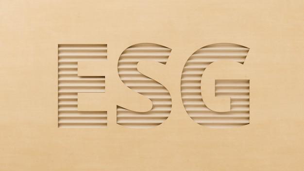 Texto recortado em papelão esg, novo conceito de tendência de negócios ecologicamente correto e reciclado, ideia de investimento futuro de energia verde, ilustração 3d